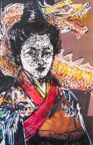 Art Works 1 Geisha and Dragon